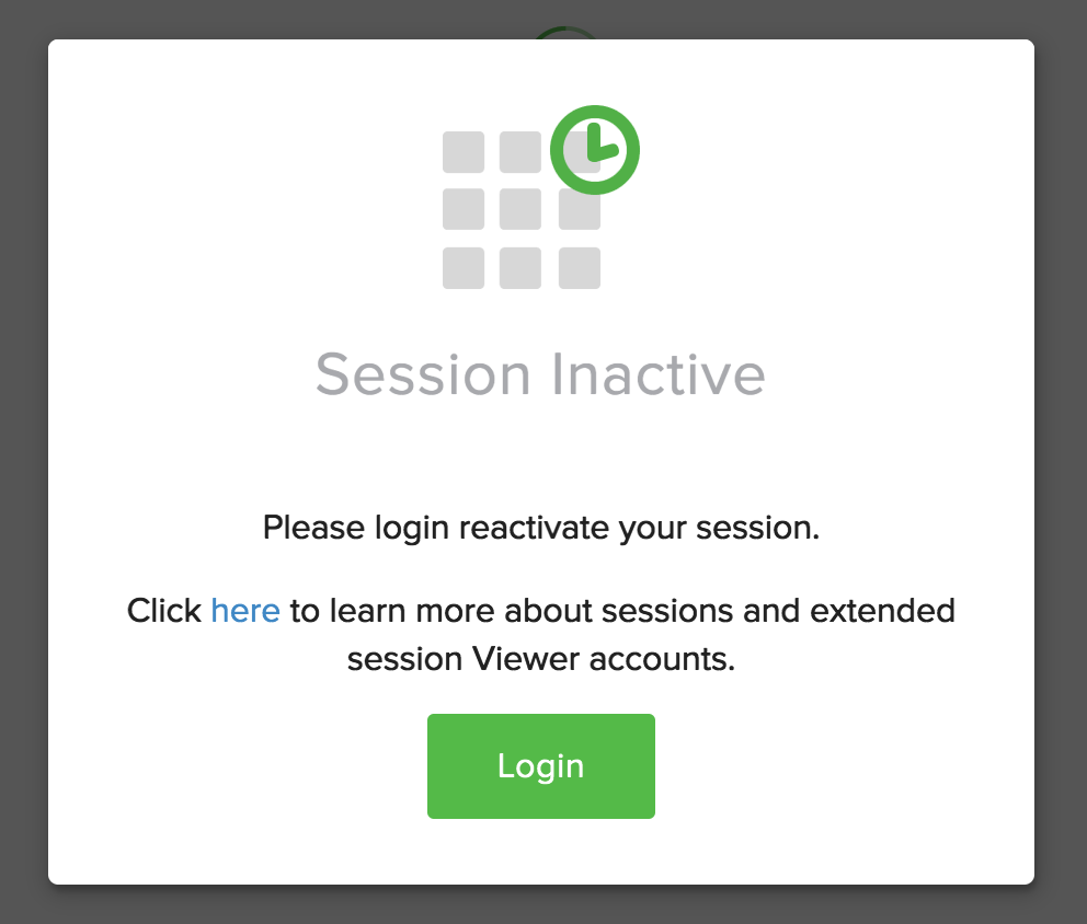 6ca80c99 ... your session has expired. If you are using an Admin and Analyst to put  a dashboard up on a TV, we strongly suggest you use a Viewer license, ...